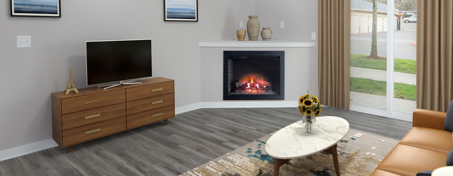 fireplace in spacious living room with large windows